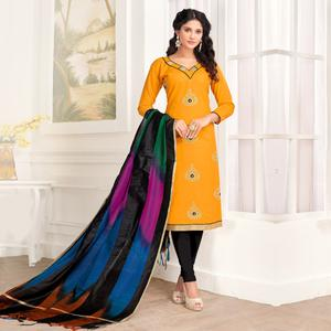 Desirable Yellow Colored Party Wear Embroidered Salwar Suit