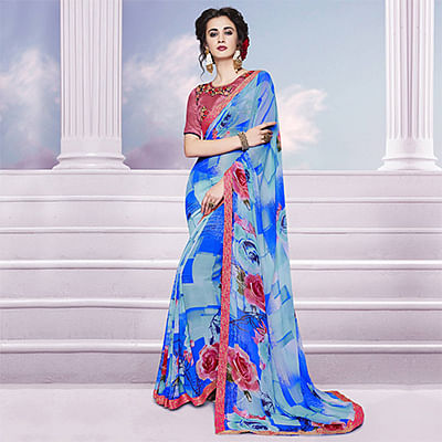 Blue - Grey Printed Georgette Saree