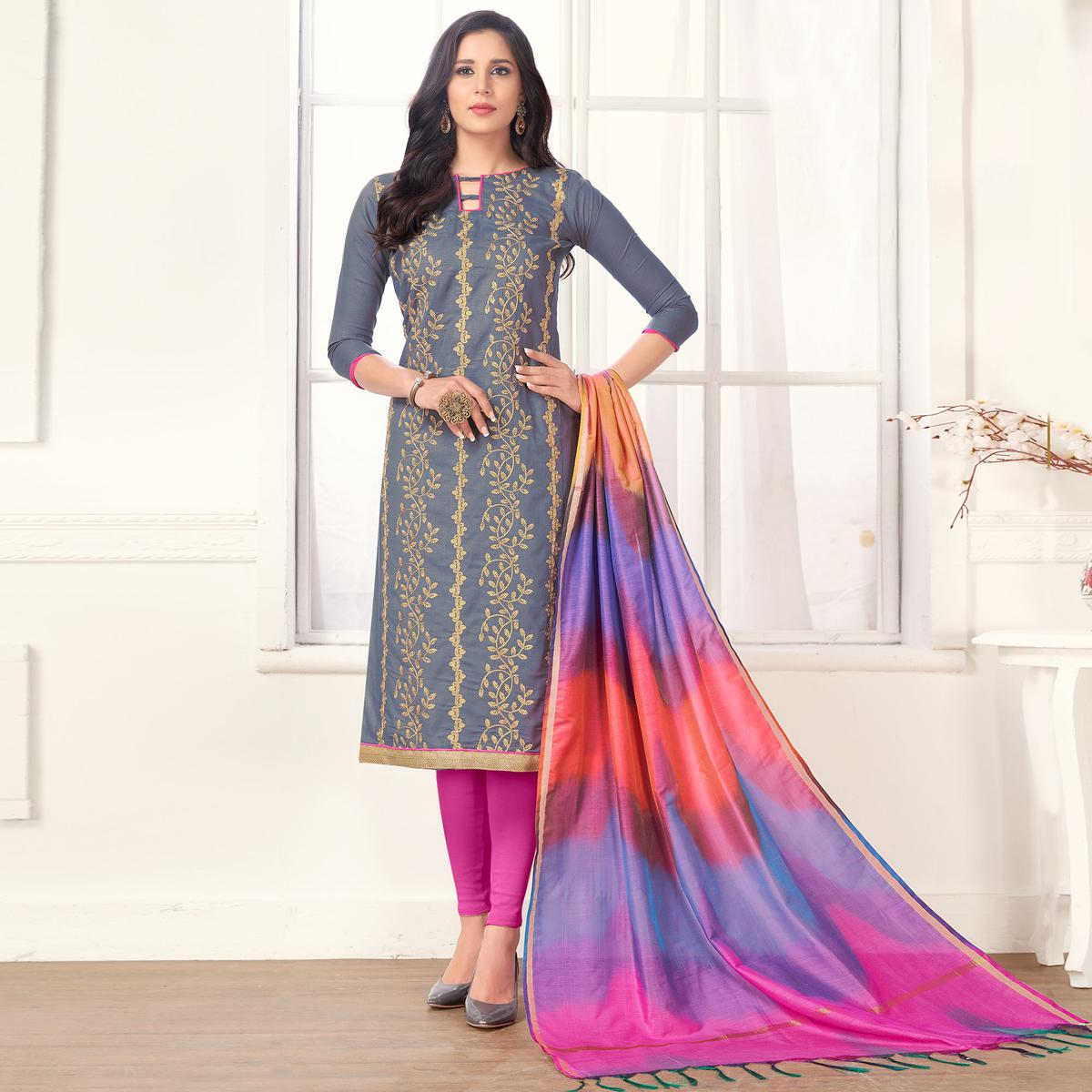 Sophisticated Grey Colored Casual Wear Embroidered Salwar Suit