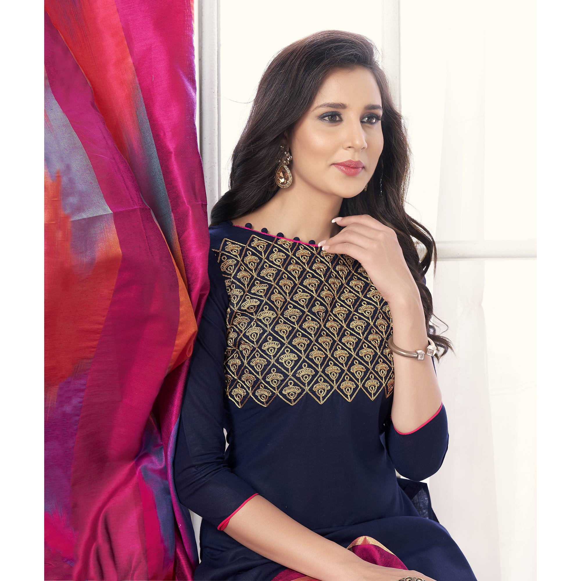 Demanding Navy Blue Colored Party Wear Embroidered Salwar Suit