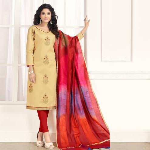 Pleasant Beige Colored Party Wear Embroidered Salwar Suit