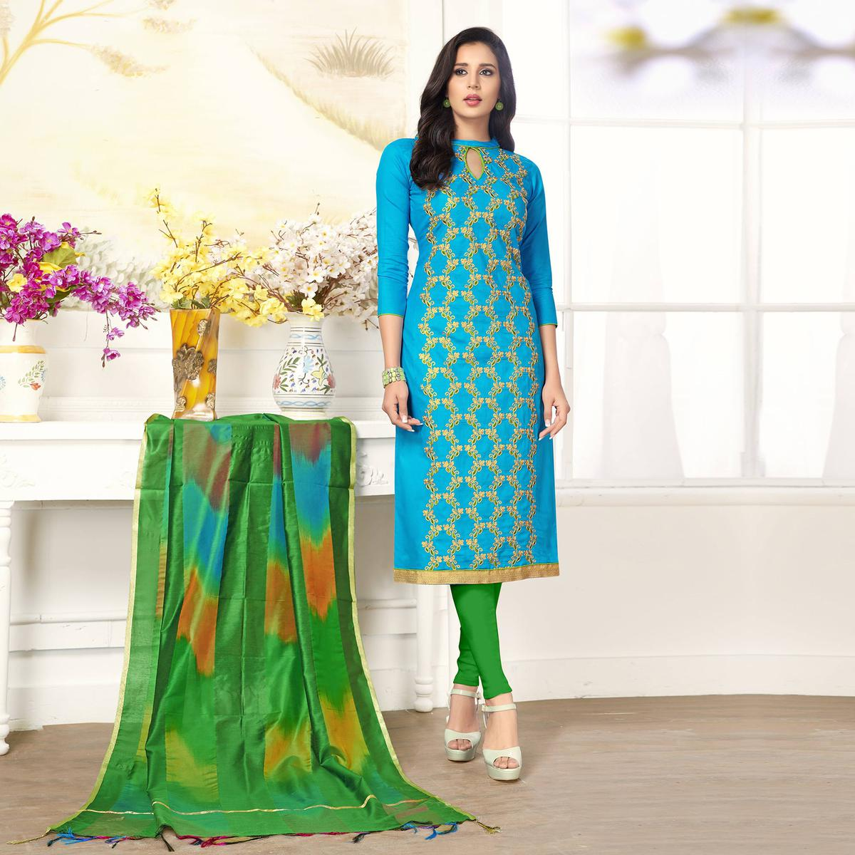Unique Sky Blue Colored Casual Wear Embroidered Salwar Suit