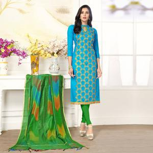 Unique Sky Blue Colored Party Wear Embroidered Salwar Suit