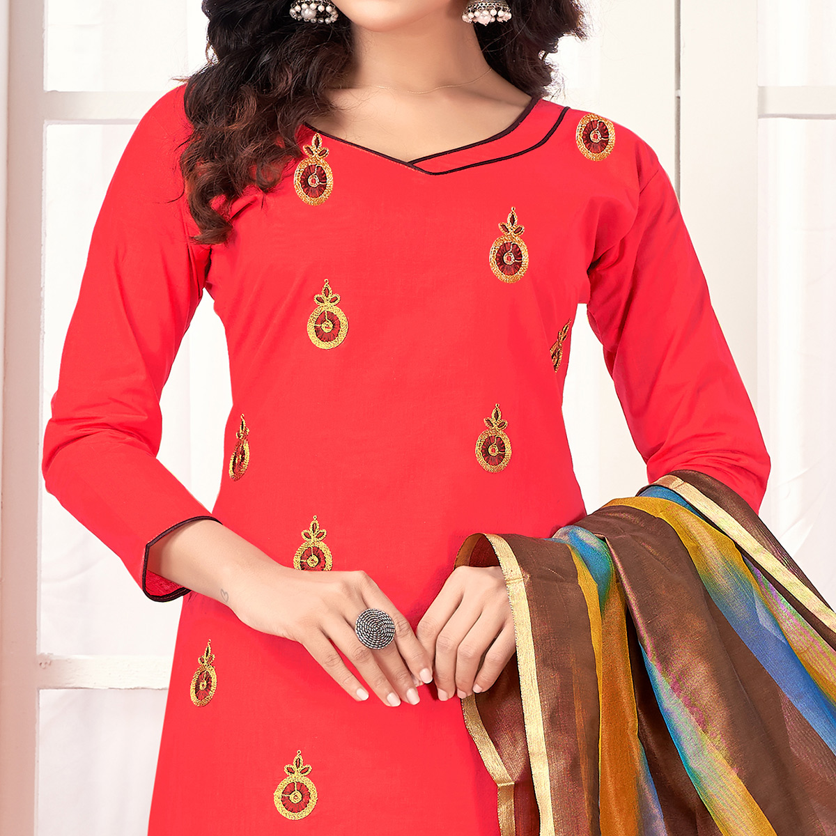 Refreshing Coral Red Colored Party Wear Embroidered Salwar Suit
