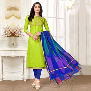 Elegant Light Green Colored Party Wear Embroidered Salwar Suit