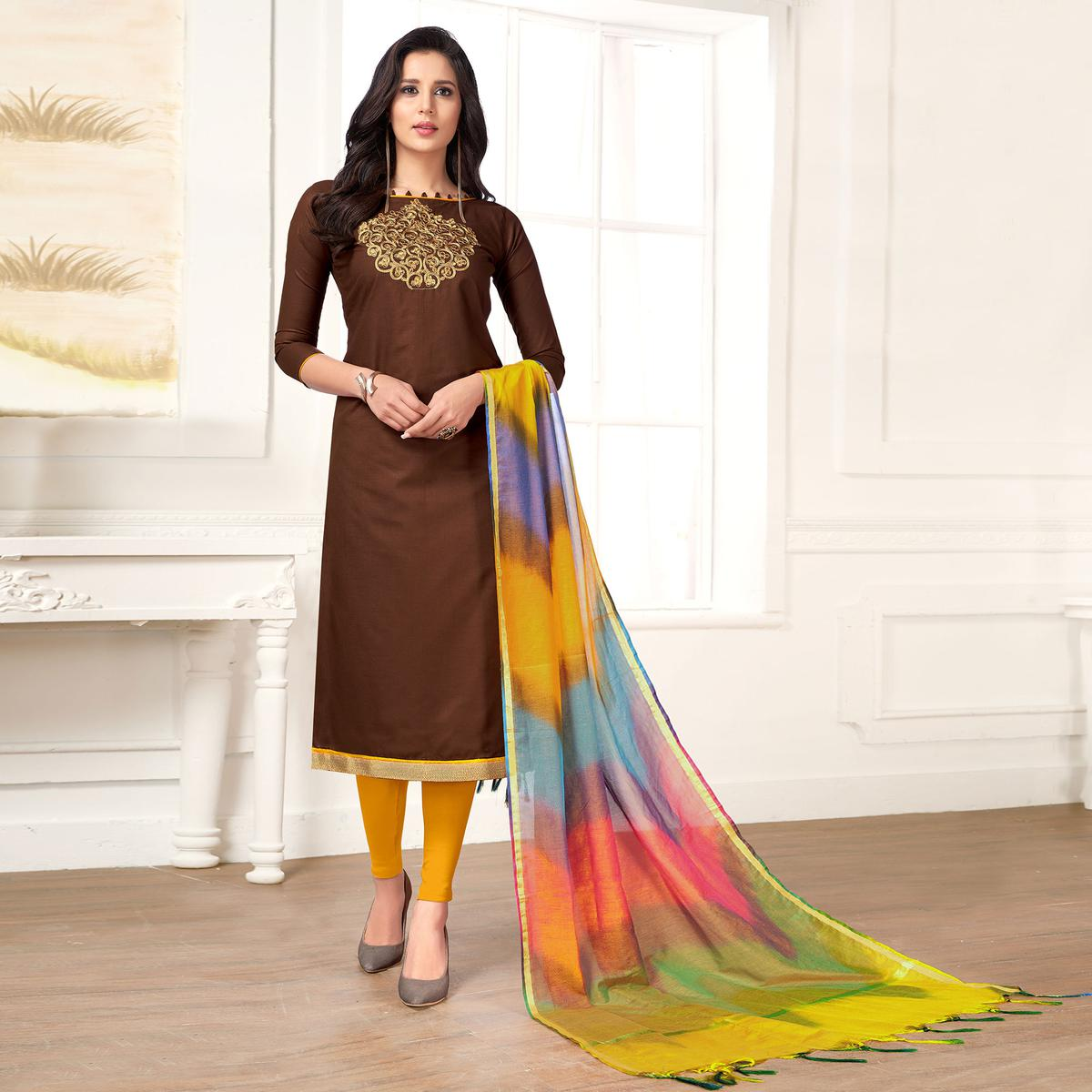 Alluring Brown Colored Party Wear Embroidered Salwar Suit