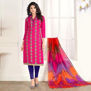 Radiant Pink Colored Party Wear Embroidered Salwar Suit