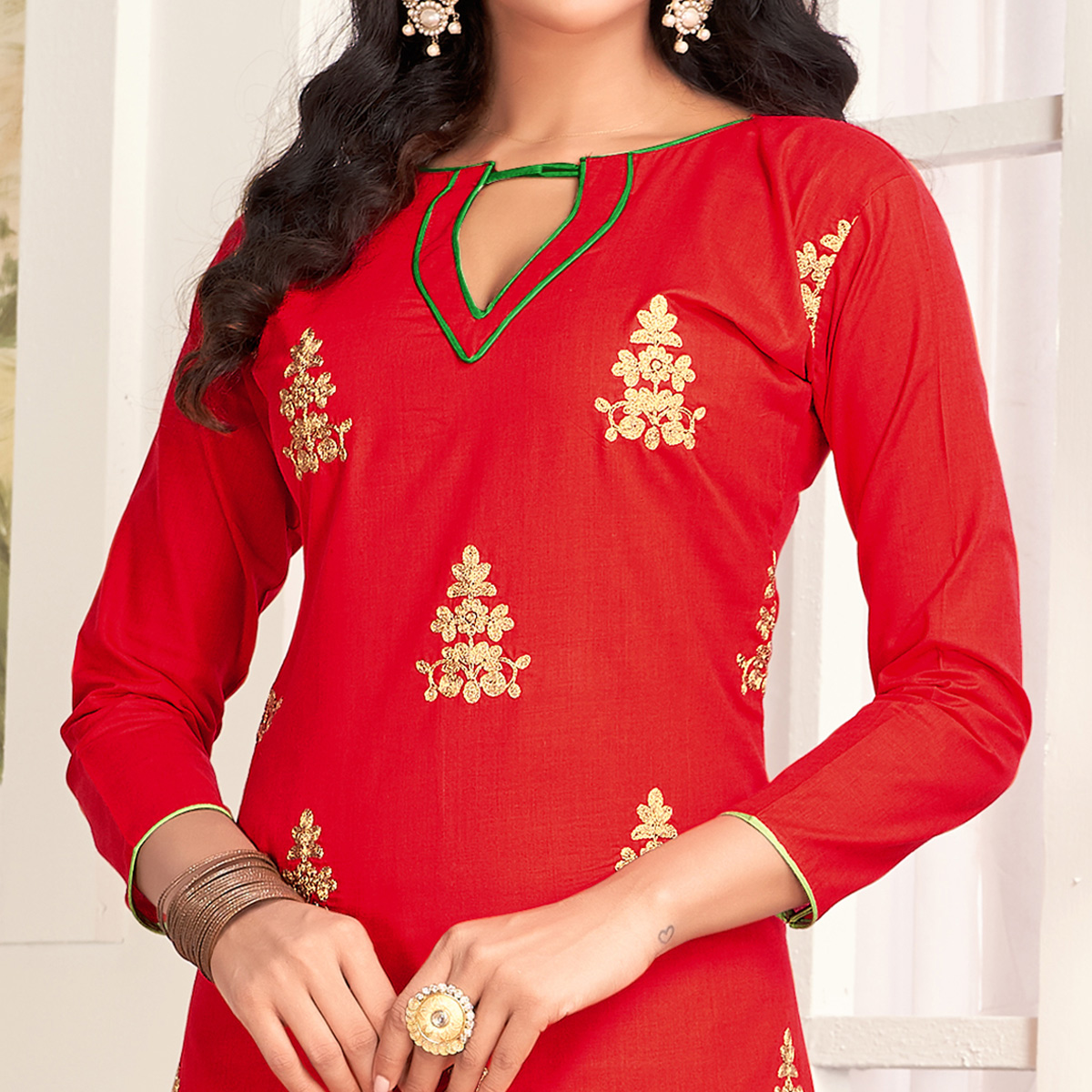 Sensational Red Colored Party Wear Embroidered Salwar Suit