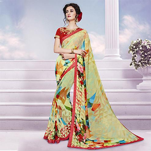 Multicolored Printed Georgette Saree