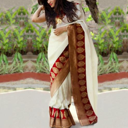 Elegant Red Colored Festive Wear Chanderi Silk Saree