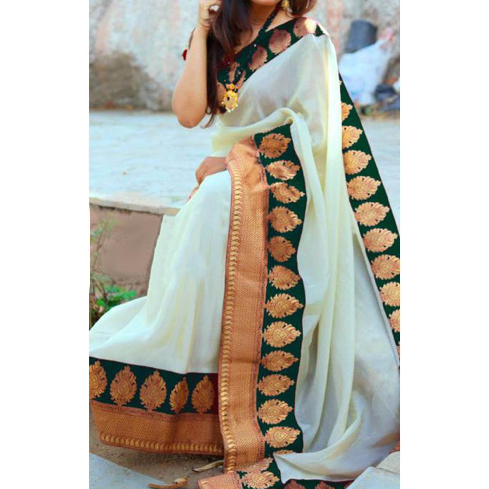 Beautiful Green Colored Festive Wear Chanderi Silk Saree