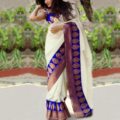 Stunning Blue Colored Festive Wear Chanderi Silk Saree