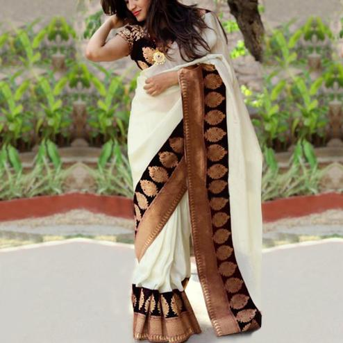 Flaunt Black Colored Festive Wear Chanderi Silk Saree