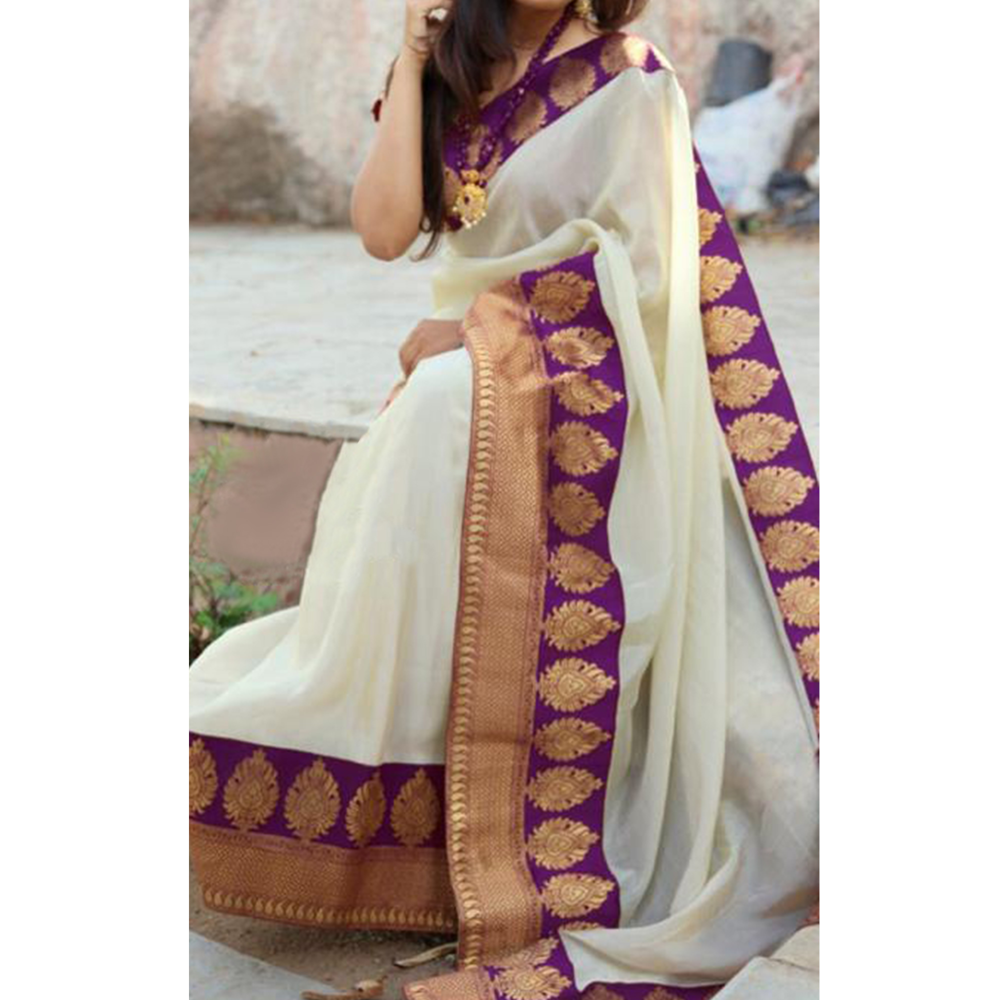 Unique Purple Colored Festive Wear Chanderi Silk Saree