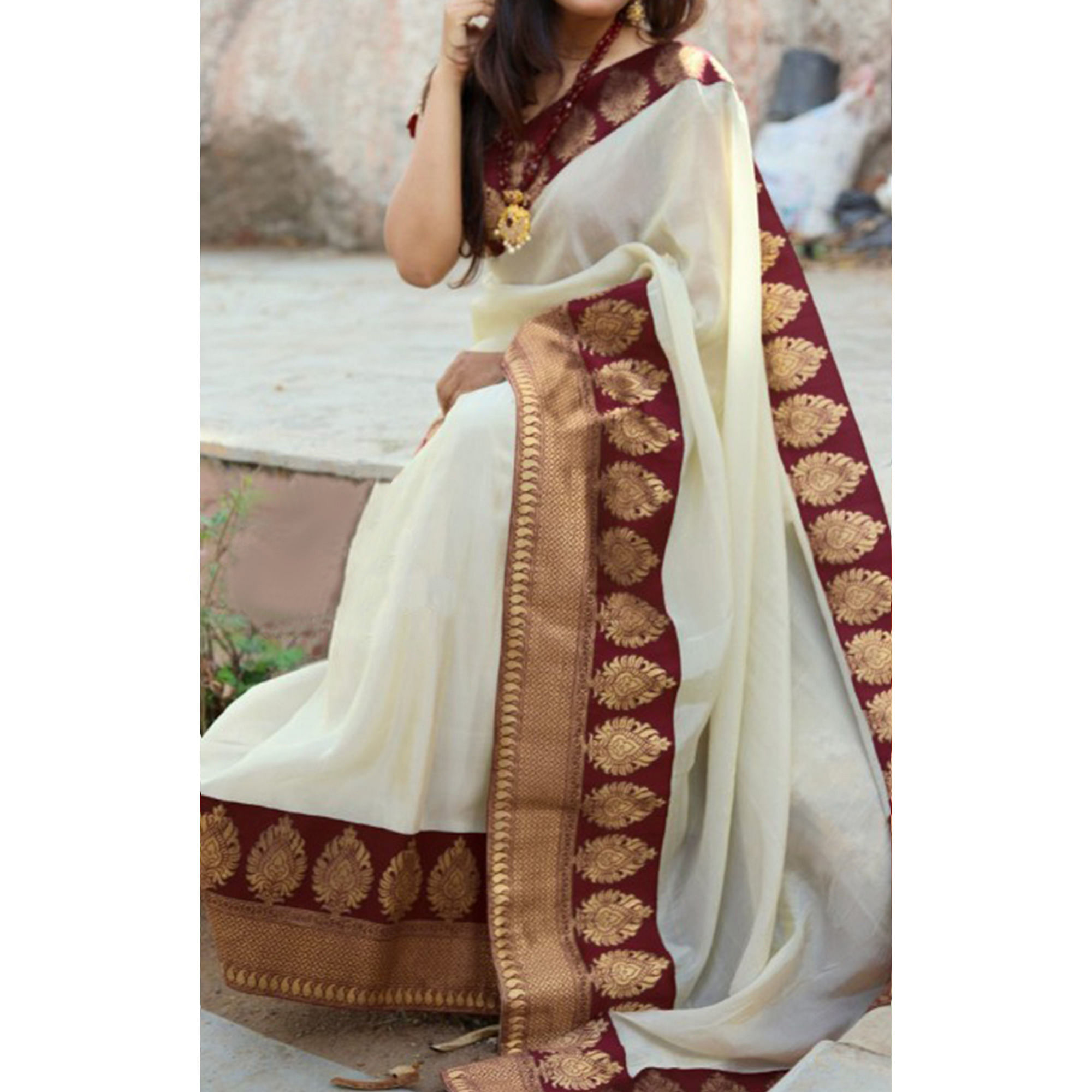 Trendy Maroon Colored Festive Wear Chanderi Silk Saree