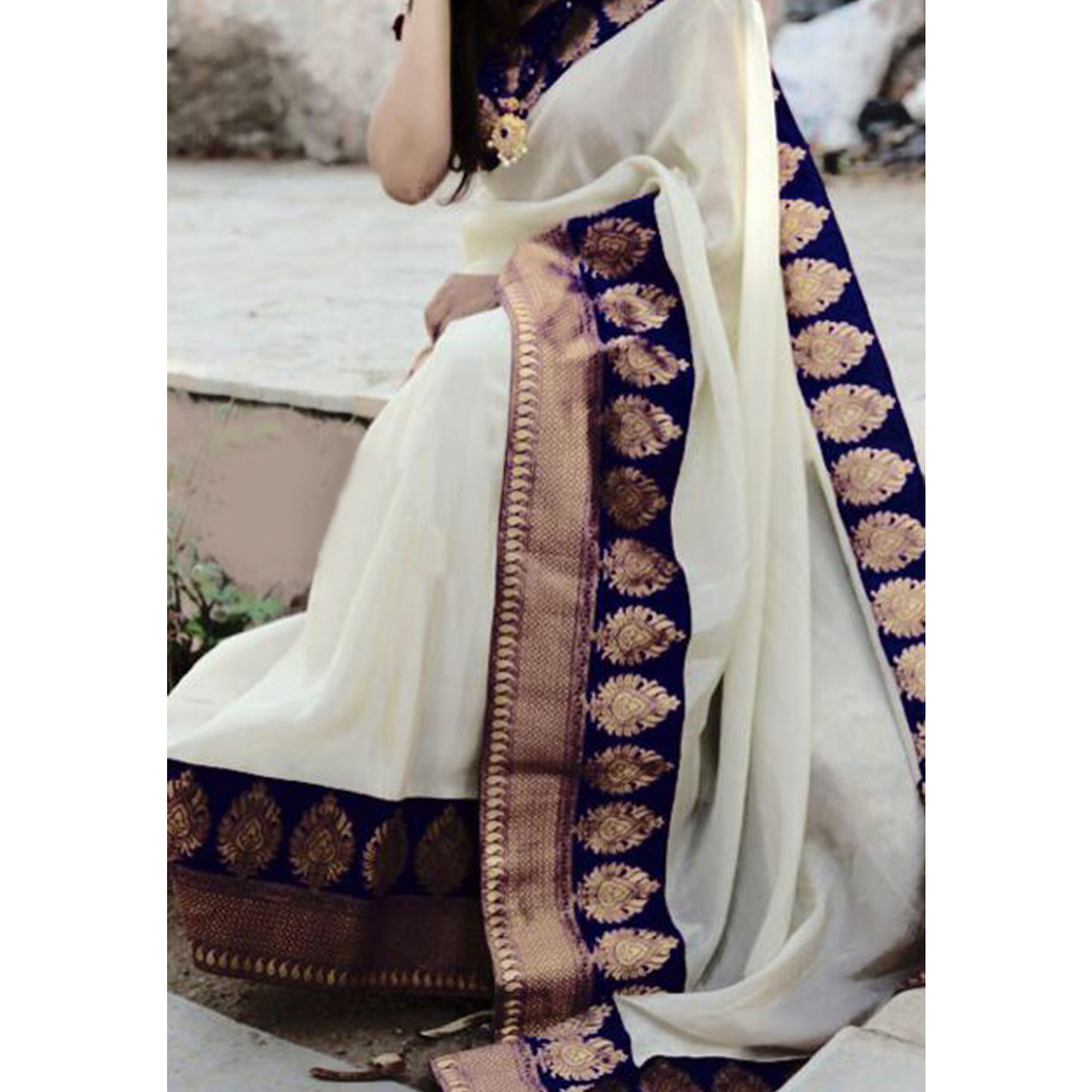 Glowing Navy Blue Colored Festive Wear Chanderi Silk Saree
