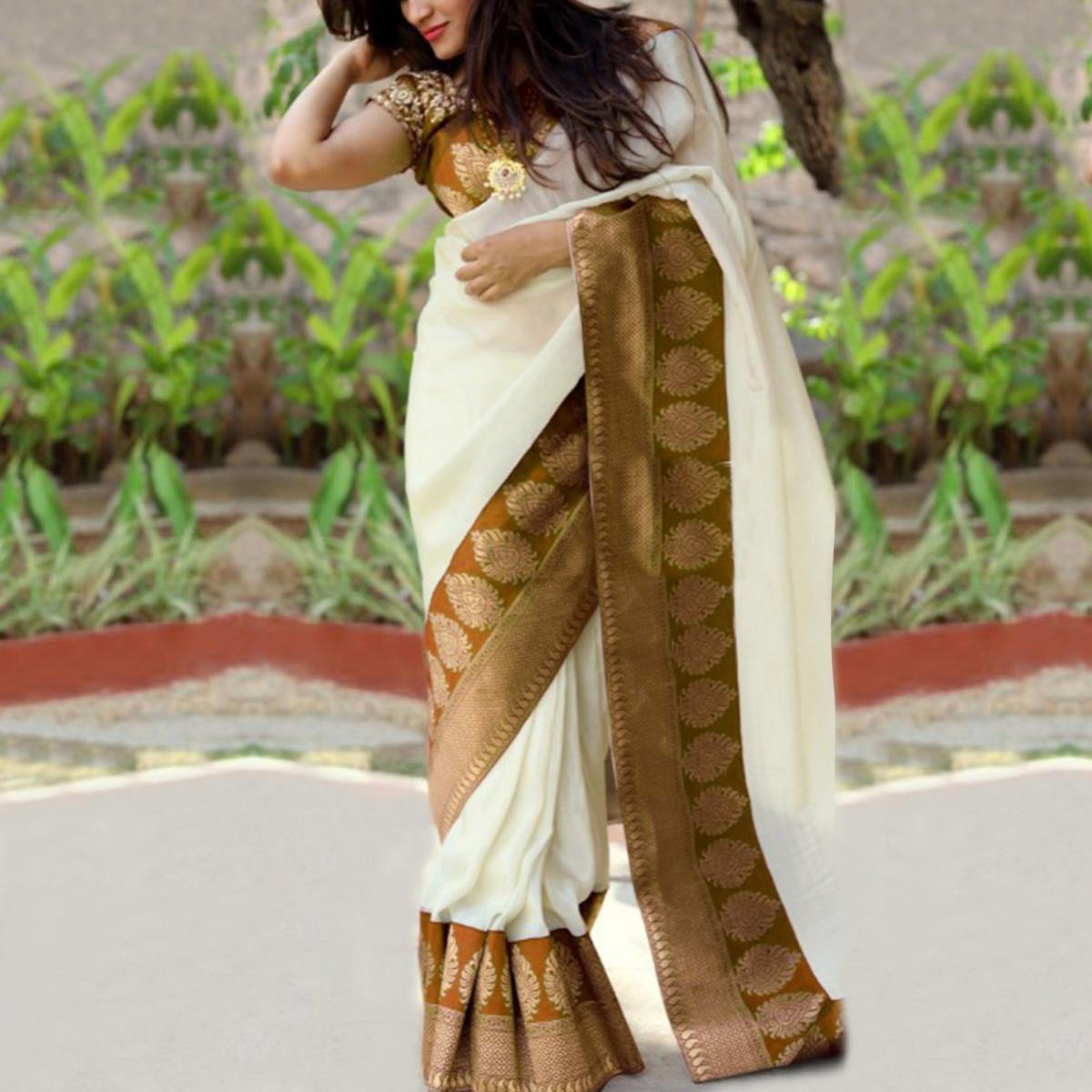 Blooming Yellow Colored Festive Wear Chanderi Silk Saree