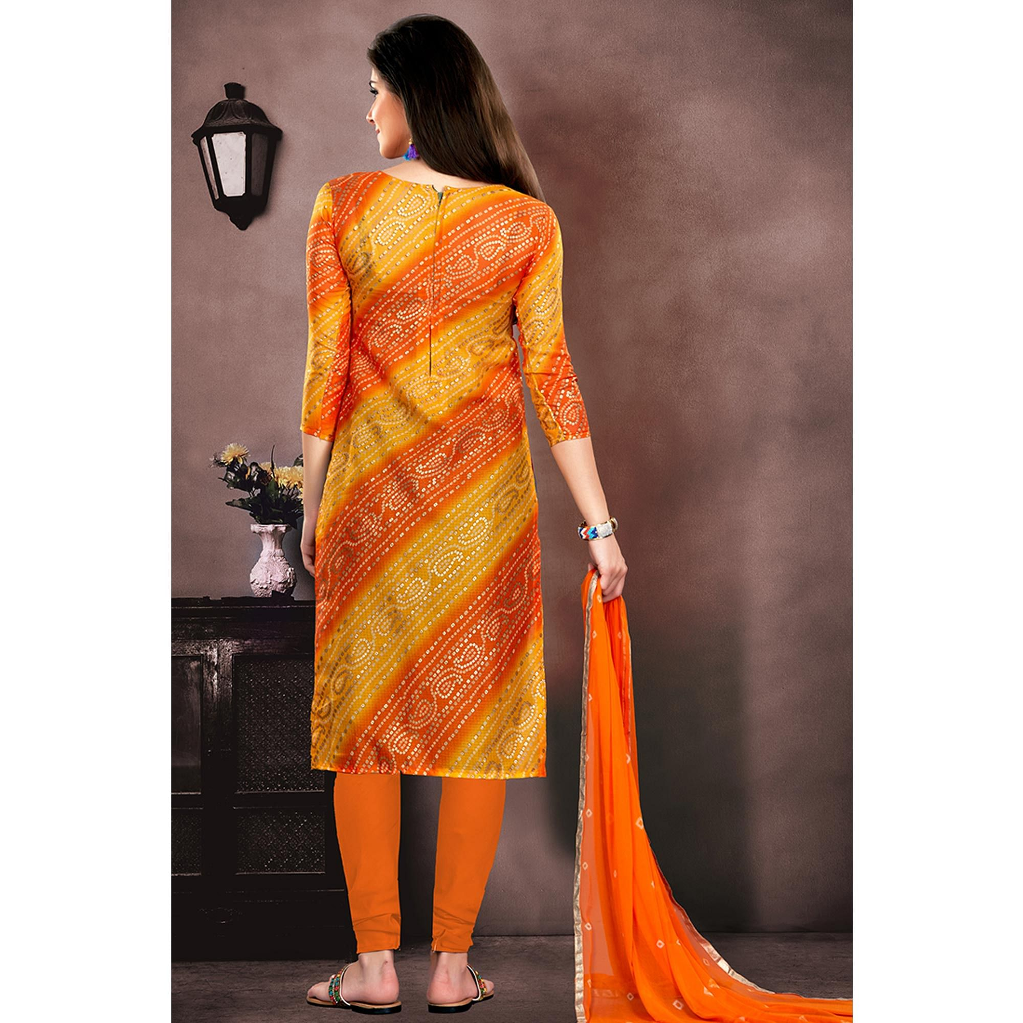 Classy Orange - Yellow Colored Party Wear Embroidered Modal Chanderi Dress Material