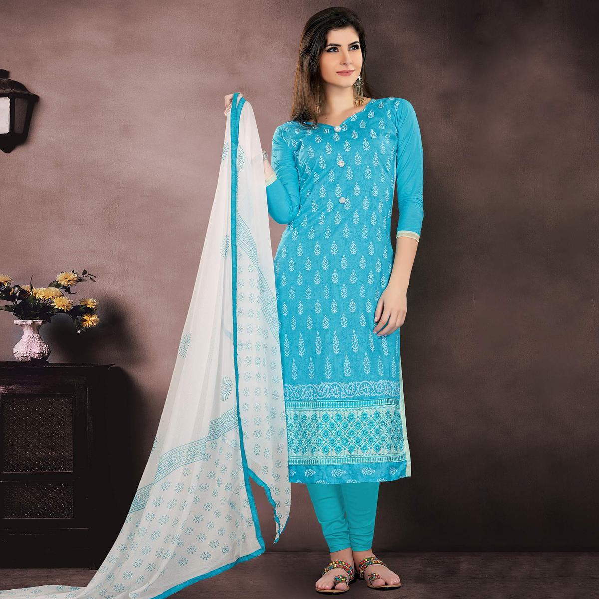 Glorious Sky Blue Colored Party Wear Embroidered Modal Chanderi Dress Material