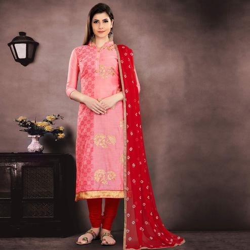 Graceful Pink Colored Party Wear Embroidered Modal Chanderi Dress Material