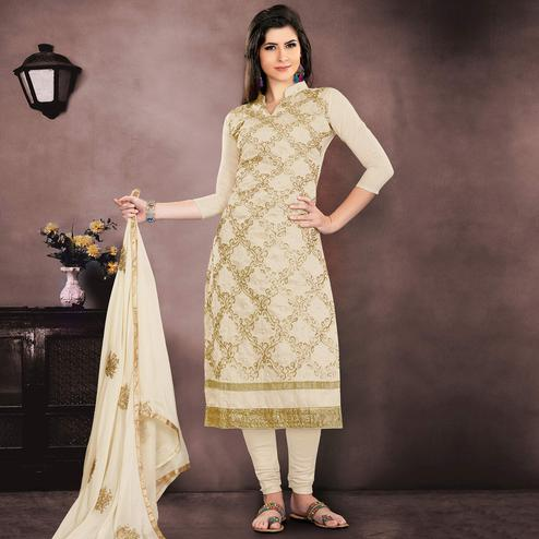 Lovely Cream Colored Party Wear Embroidered Modal Chanderi Dress Material