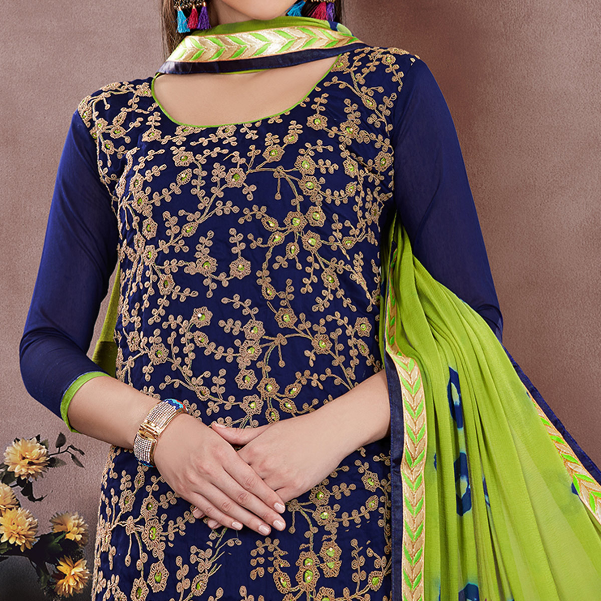 Pretty Navy Blue Colored Party Wear Embroidered Modal Chanderi Dress Material