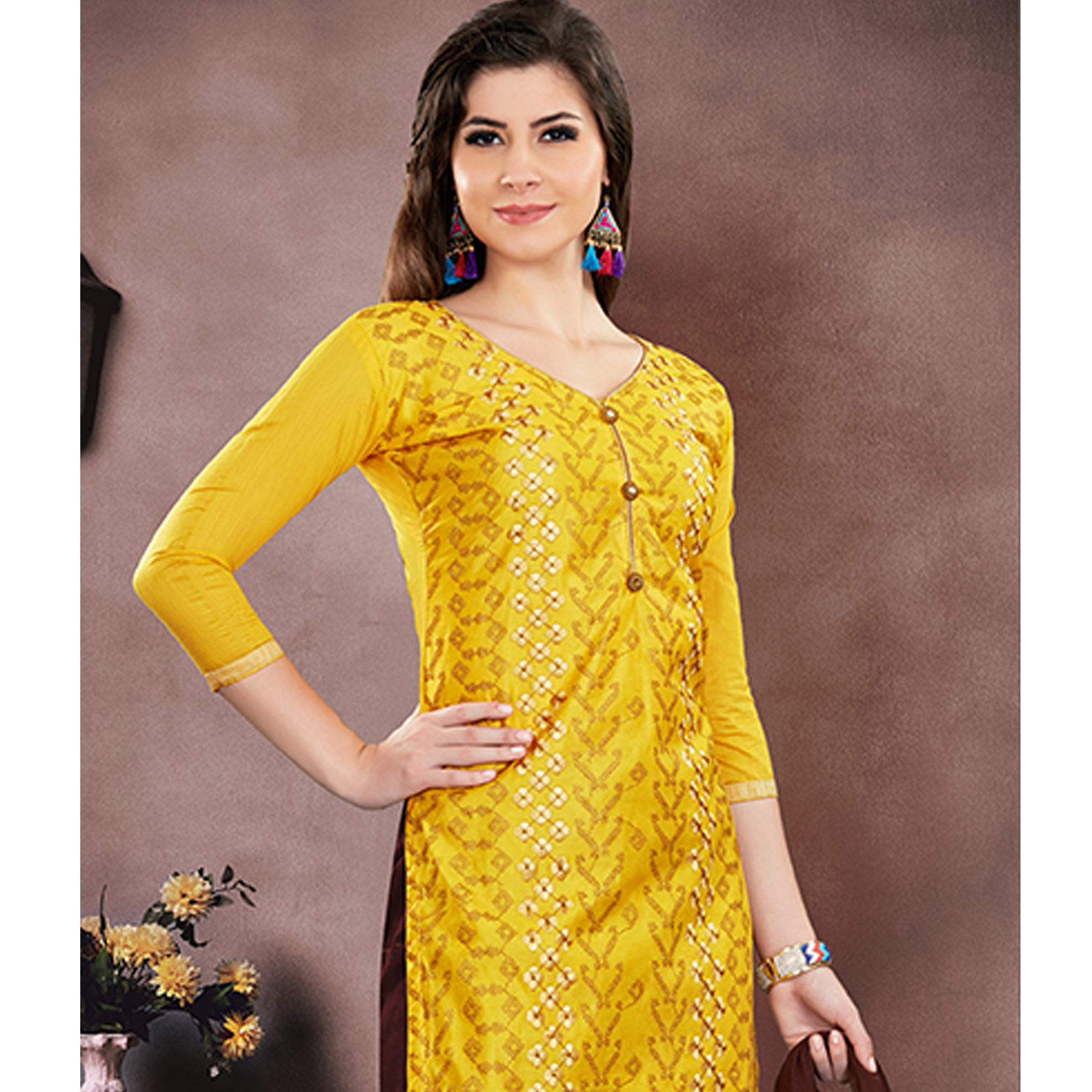 Charming Yellow Colored Party Wear Embroidered Modal Chanderi Dress Material