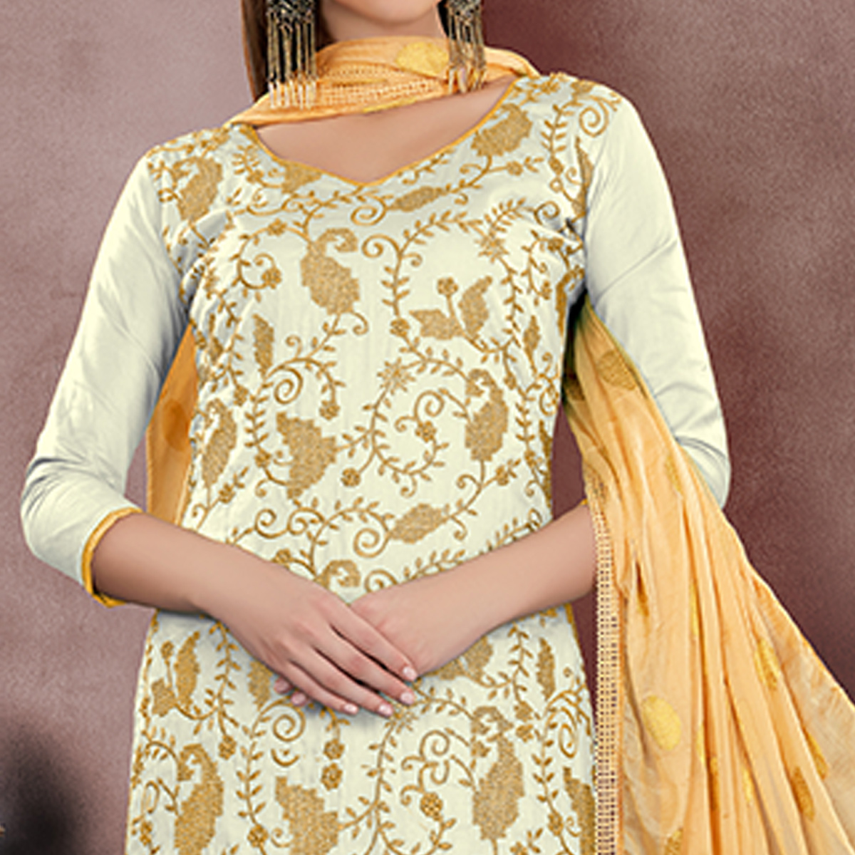 Ravishing Off White Colored Party Wear Embroidered Modal Chanderi Dress Material