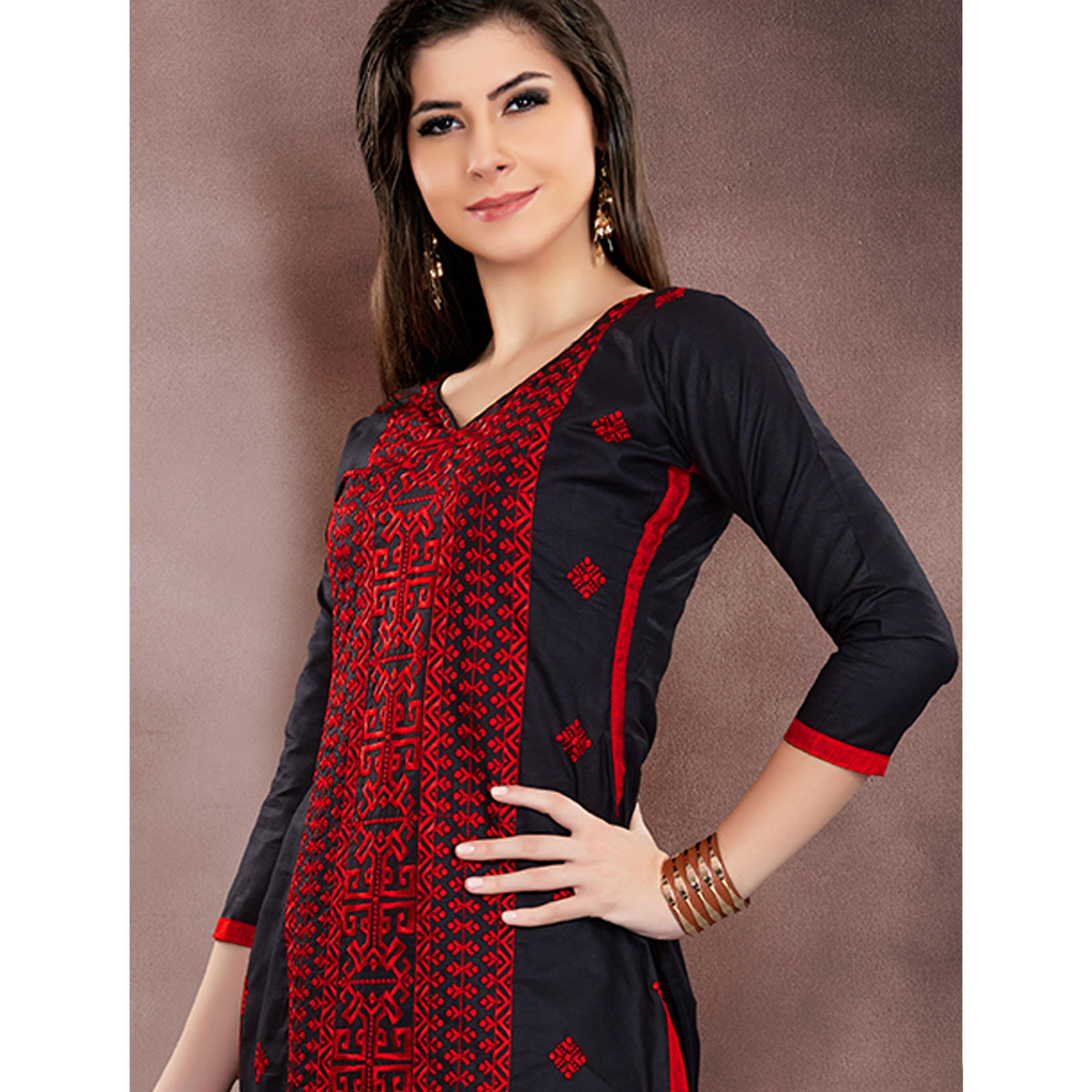 Delightful Black Colored Party Wear Embroidered Modal Chanderi Dress Material