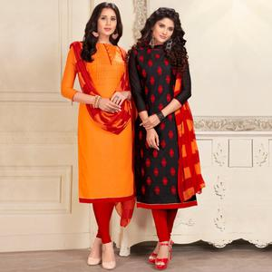 Impressive Orange And Black Colored Dual Top Chanderi - Cotton Dress Material