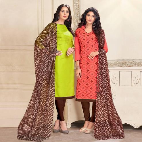 Innovative Green And Pink Colored Dual Top Chanderi - Cotton Dress Material