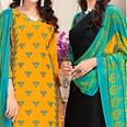 Gleaming Yellow And Black Colored Dual Top Chanderi - Cotton Dress Material