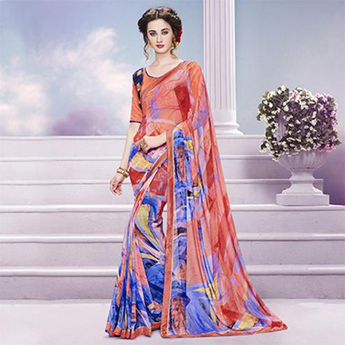 Multicolored Printed Saree with Embroidered Blouse