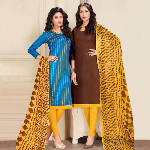 Exceptional Blue And Brown Colored Dual Top Chanderi - Cotton Dress Material