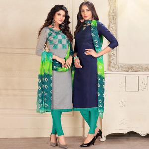 Excellent Grey And Blue Colored Dual Top Chanderi - Cotton Dress Material