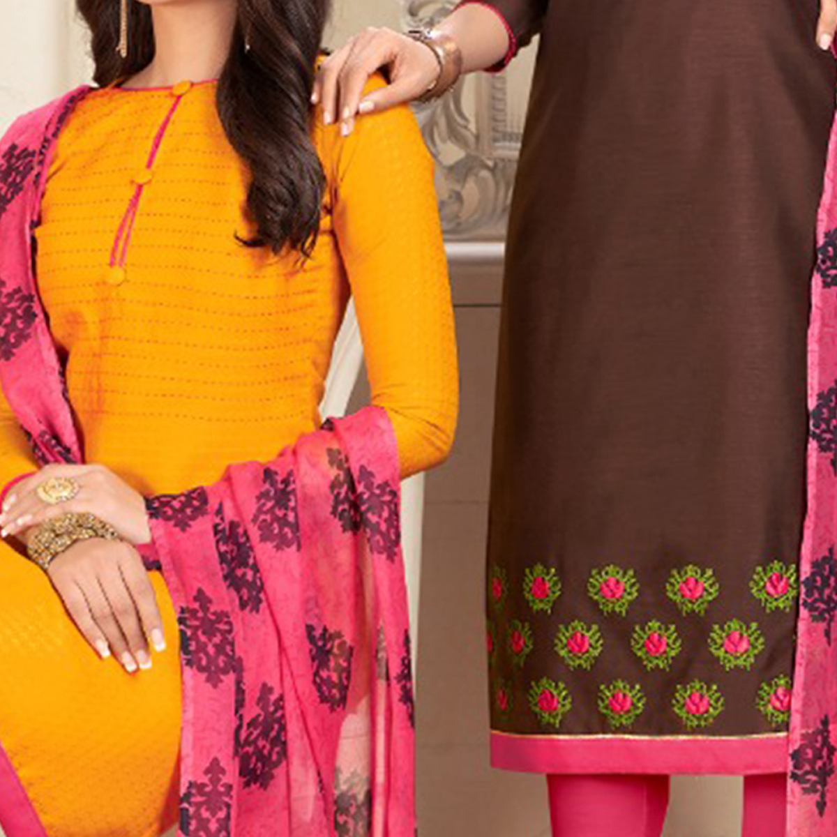 Ethnic Yellow And Dark Brown Colored Dual Top Chanderi - Cotton Dress Material