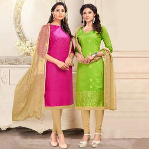 Starring Pink And Green Colored Dual Top Chanderi - Cotton Dress Material