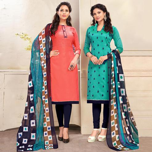 Entrancing Pink And Teal Blue Colored Dual Top Chanderi - Cotton Dress Material