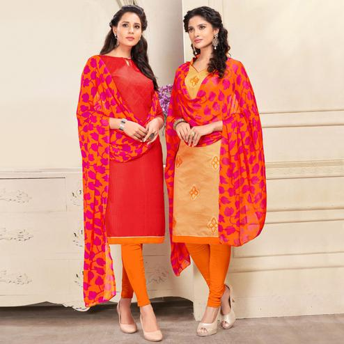 Imposing Red And Beige Colored Dual Top Chanderi - Cotton Dress Material