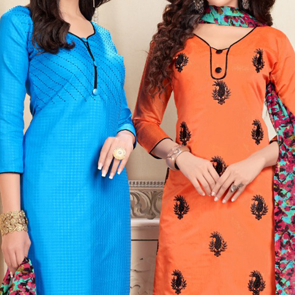 Blissful Blue And Orange Colored Dual Top Chanderi - Cotton Dress Material