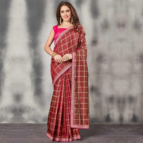 Gorgeous Maroon Colored Partywear Printed Silk Saree