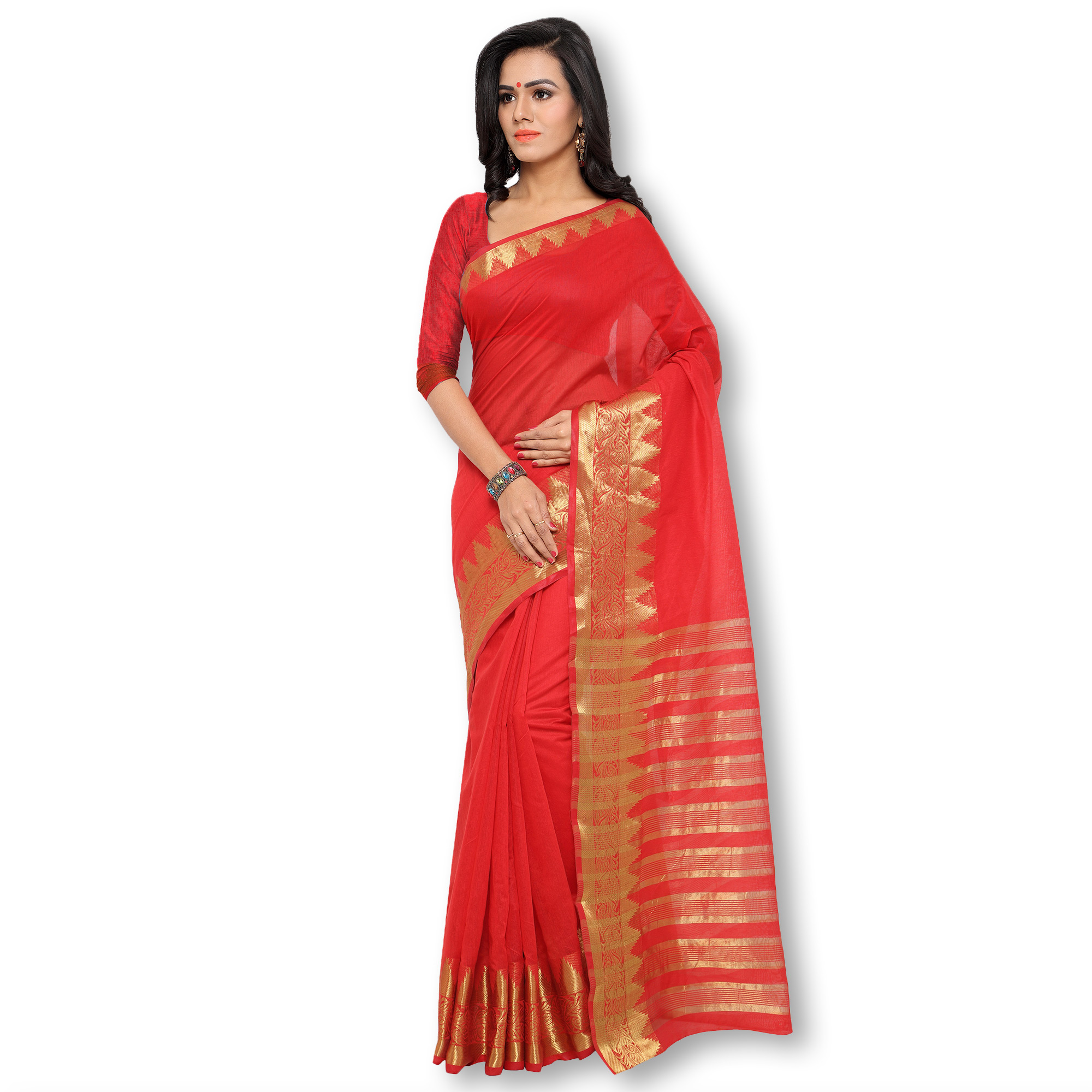 Red Polyester Cotton Silk Saree