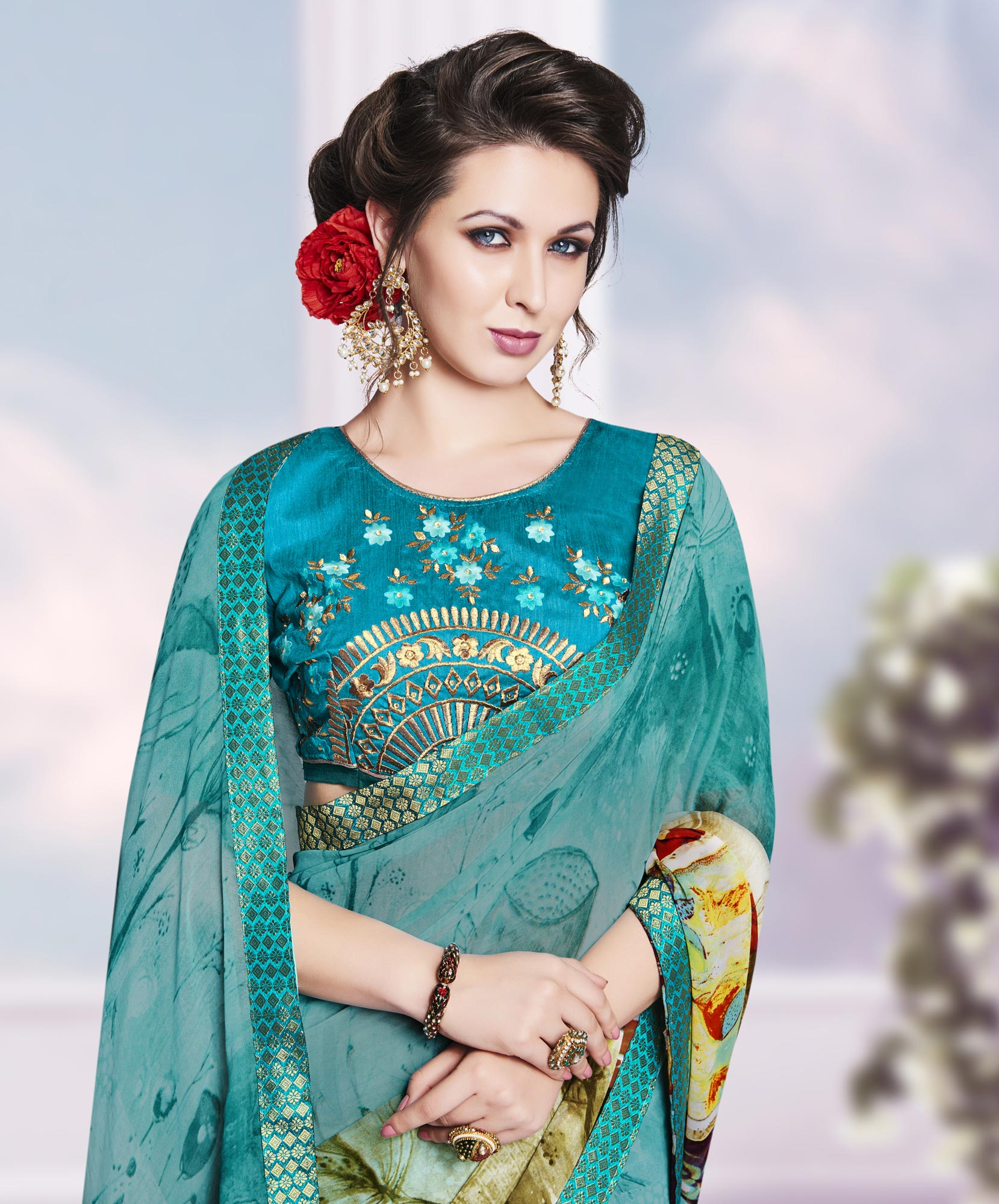Green Casual Wear Georgette Saree
