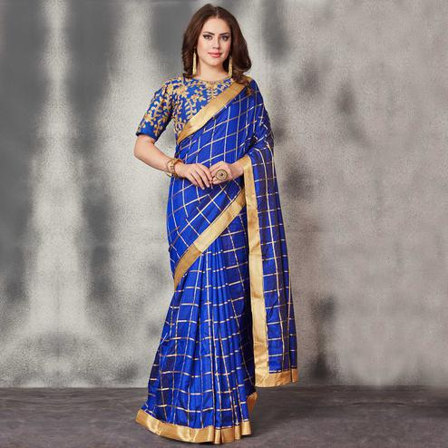 Sophisticated Royal Blue Colored Partywear Printed Silk Saree