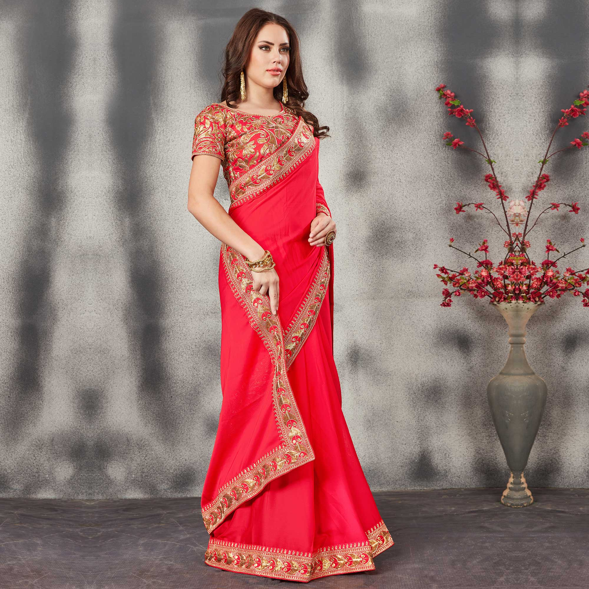 Amazing Red Colored Partywear Embroidered Georgette Silk Saree