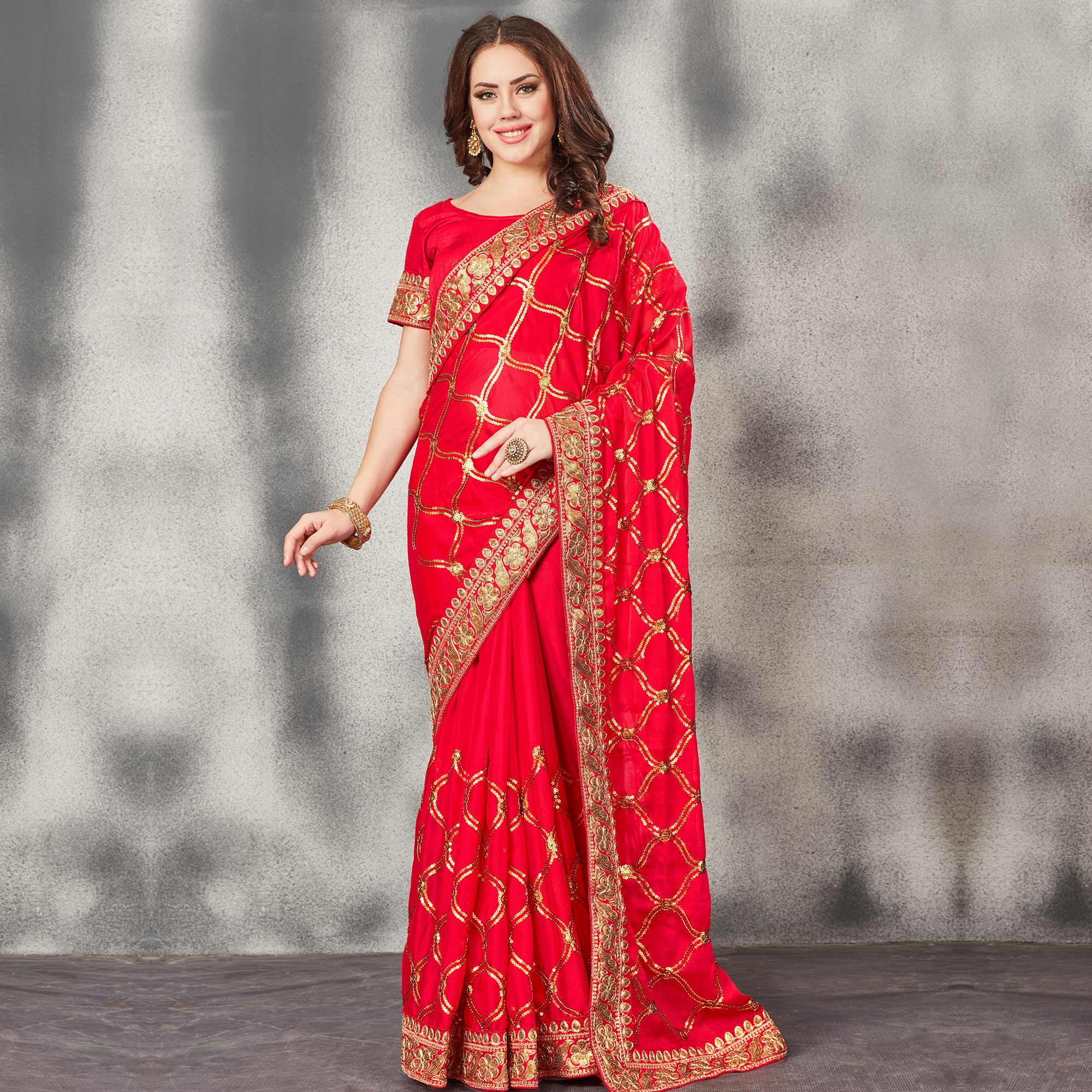 Appealing Red Colored Partywear Embroidered Silk Saree