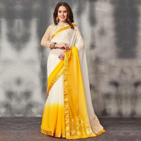 Impressive White-Yellow Colored Partywear Embroidered Georgette Saree
