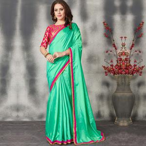 Glowing Green Colored Partywear Sana Silk Saree