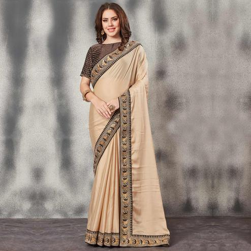 Flattering Beige Colored Partywear Art Silk Saree