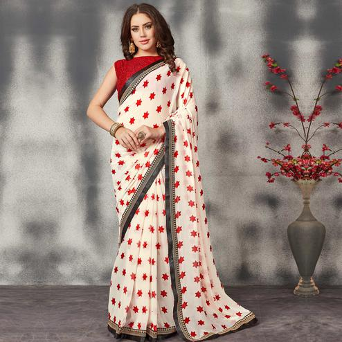 Stunning White Colored Partywear Printed Georgette Saree